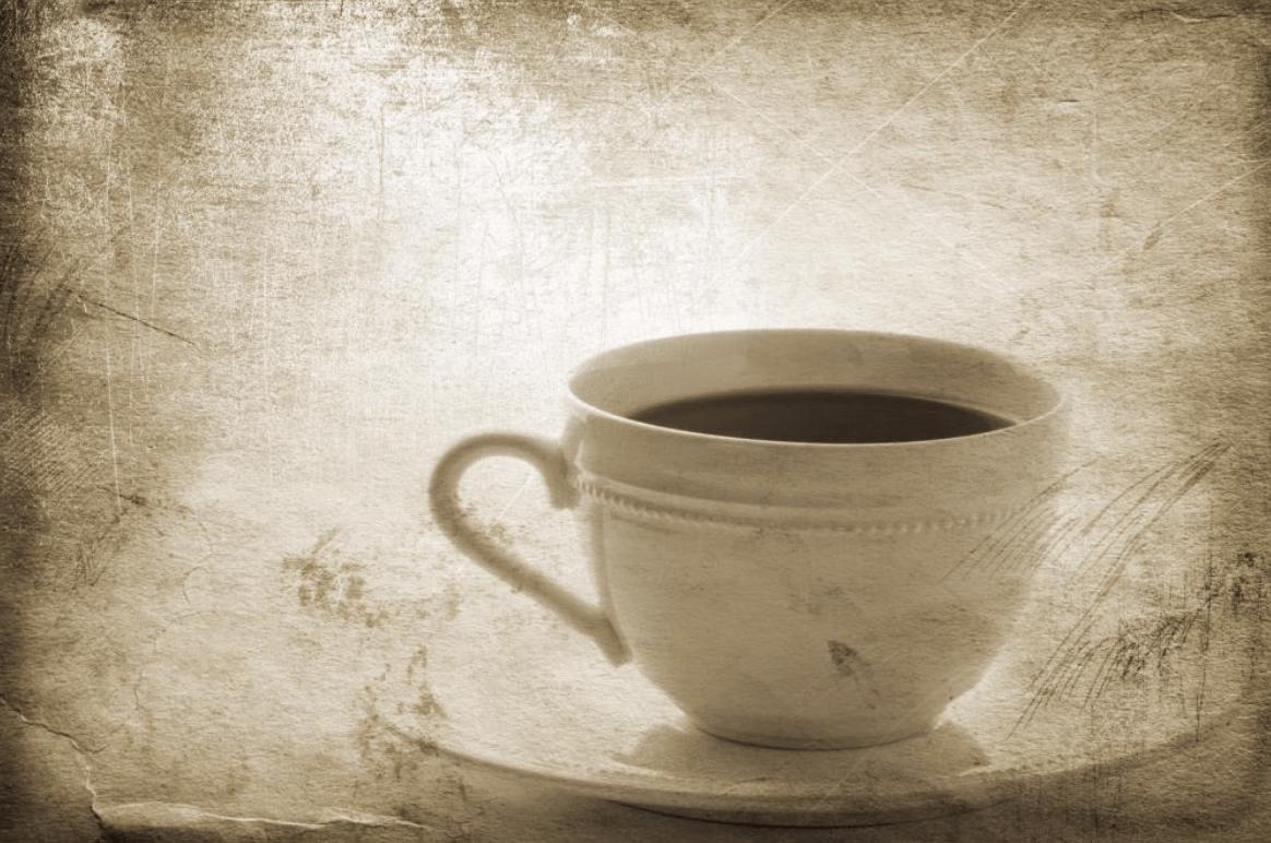 Šálka s čajom s aplikovaným foto filtrom vintage